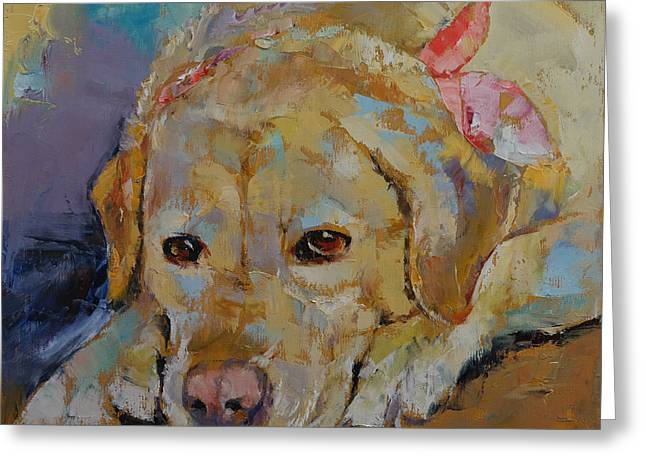 Yellow Labrador Retriever Greeting Card by Michael Creese