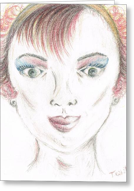 Greeting Card featuring the drawing Mollys Makeover/ Pink Day by Teresa White