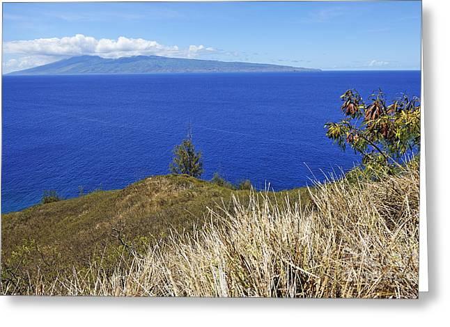 Molokai Island Viewed From Maui Island Greeting Card by Sami Sarkis