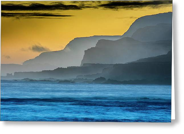 Molokais North Shore Sea Cliffs Greeting Card by Richard A Cooke Iii.