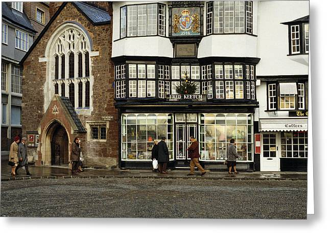Mols Coffee House From 1596 Cathedral Close Exeter Uk 1980s Greeting Card by David Davies