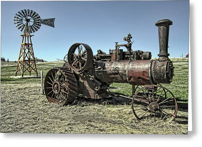 Molson Washington Ghost Town Steam Tractor And Wind Mill Greeting Card by Daniel Hagerman