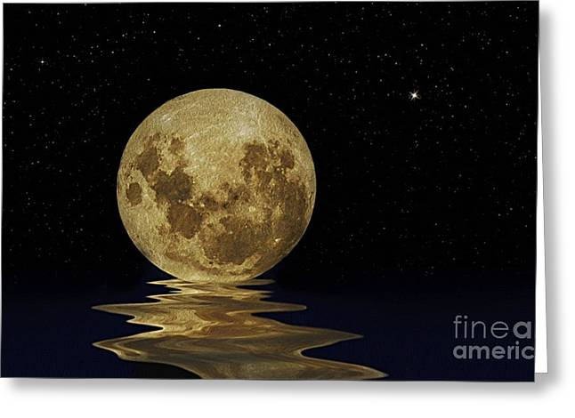 Molten Moon Greeting Card by Kaye Menner