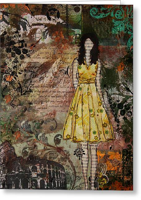 Molto Bello Mixed Media Rome Inspired Abstract Artwork Greeting Card by Janelle Nichol