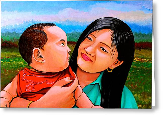 Greeting Card featuring the painting Mom And Babe by Cyril Maza