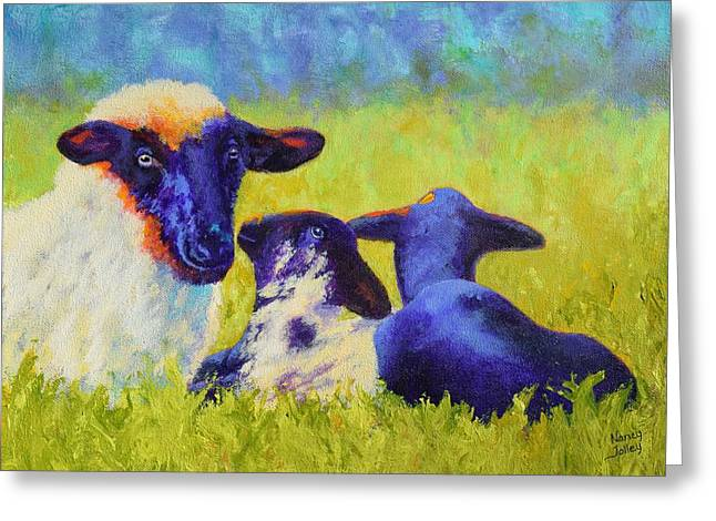 Mom And The Kids Greeting Card by Nancy Jolley
