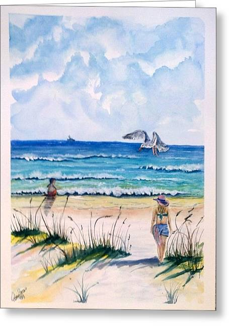 Greeting Card featuring the painting Mom Son Beach by Richard Benson