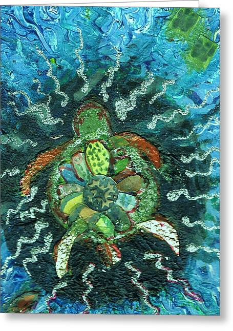 Mom There Is A Turtle In The Swimming Pool  Greeting Card by Anne-Elizabeth Whiteway