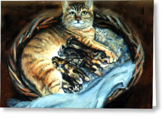 Greeting Card featuring the painting Mom With Her Kittens by Donna Tucker