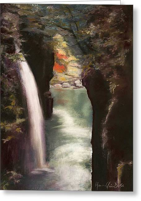 Moment Of Eternity - Takachiho Falls Greeting Card by Marie-Claire Dole