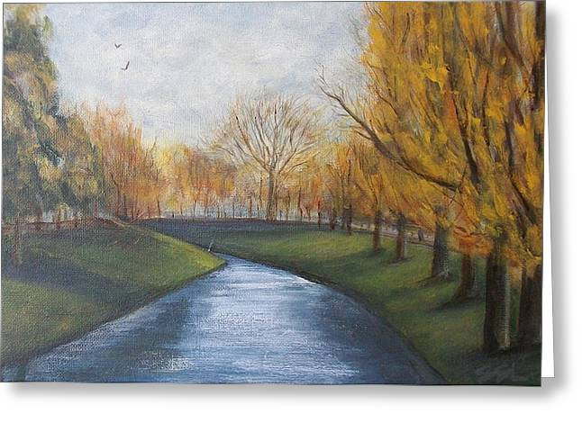 Greeting Card featuring the painting Moment Of Silence Avon River Christchurch by Jane  See