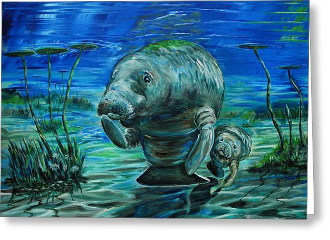 Momma Manatee Greeting Card