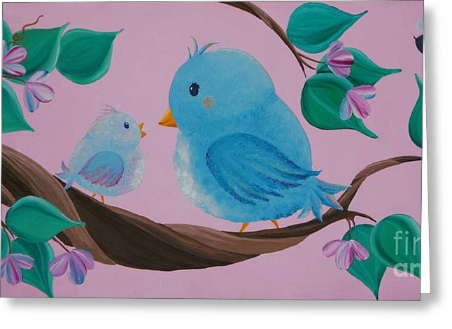 Mommy-baby Birds Greeting Card