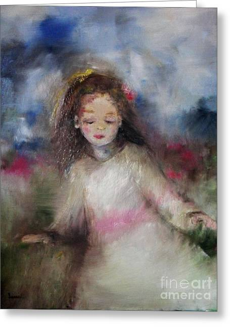 Greeting Card featuring the painting Mommy's Little Girl by Laurie Lundquist