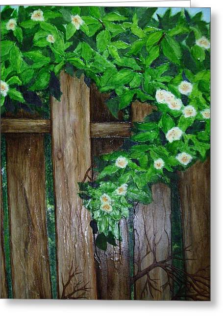 Mom's Backyard Cedar Fence Greeting Card by Jan Wendt