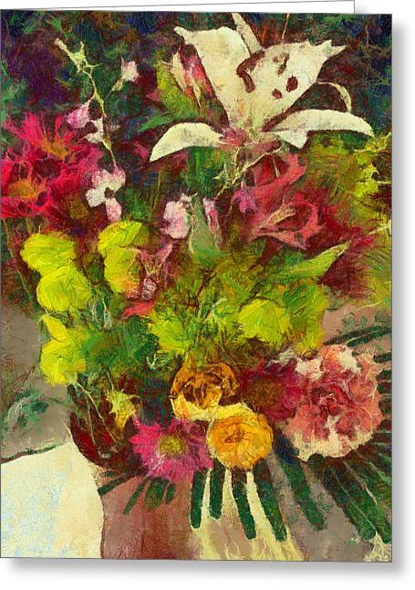 Mom's Flowers Greeting Card by Spyder Webb