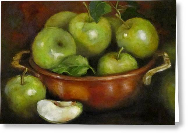 Mom's Last Apple Harvest Greeting Card by Cheri Wollenberg
