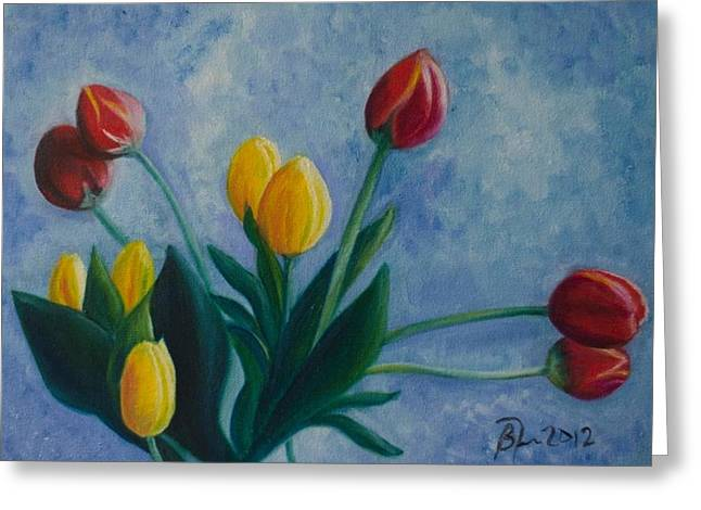 Mom's Tulips Greeting Card by Beatriz Topete