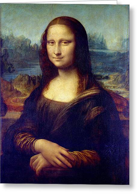 Greeting Card featuring the painting Mona Lisa by Karon Melillo DeVega