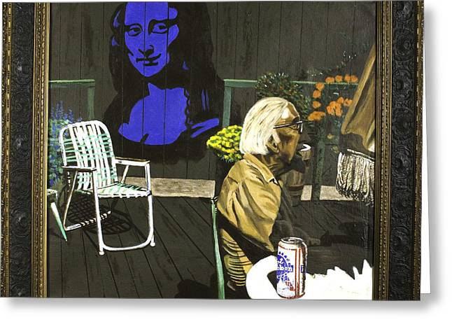 Greeting Card featuring the painting Mona Lisa On The Patio by Herb Van de Eau