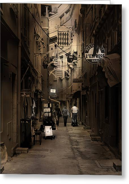 Greeting Card featuring the photograph Monaco Alley by Cecil Fuselier