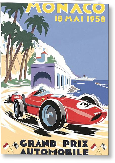 Monaco Grand Prix 1958 Greeting Card