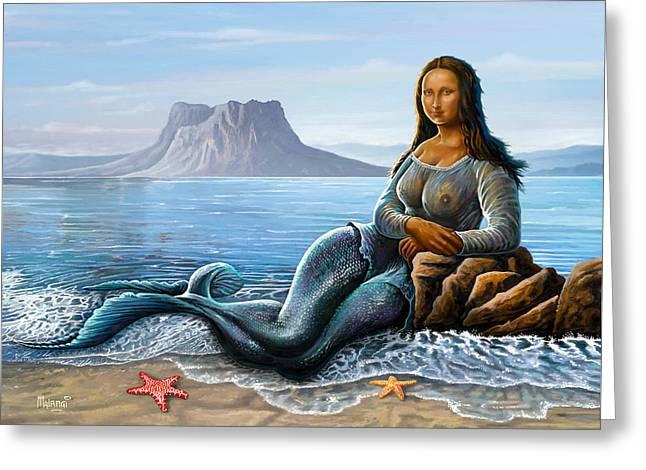 Monalisa Mermaid Greeting Card