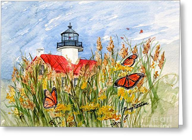 Monarch Butterflies At East Point Light Greeting Card