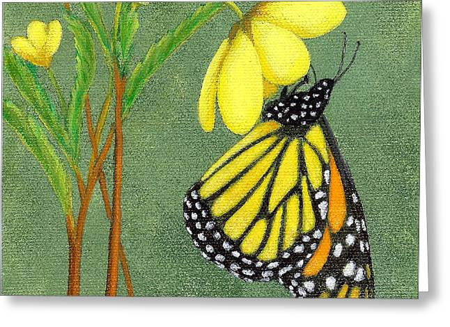 Greeting Card featuring the painting Monarch Gold by Fran Brooks