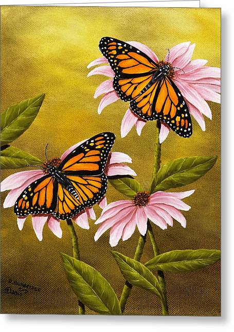 Monarchs And Coneflower Greeting Card by Rick Bainbridge