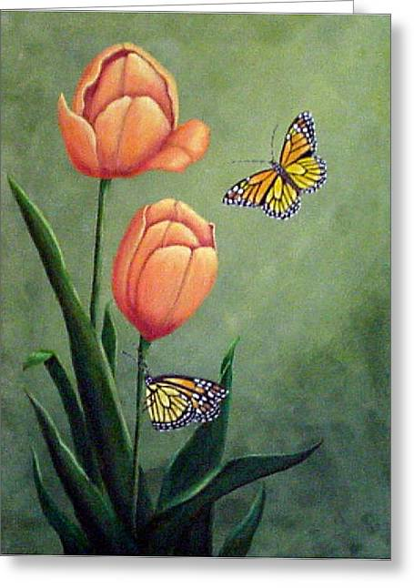 Monarchs And Golden Tulips Greeting Card