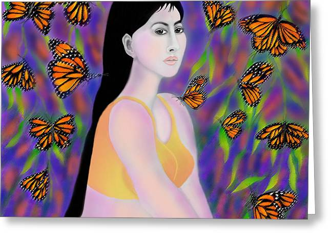 Monarchs Greeting Card by Latha Gokuldas Panicker