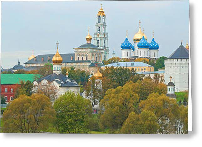 Monastery And Cathedral In A City Greeting Card