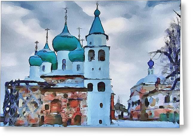 Monastery Construction Greeting Card by Yury Malkov