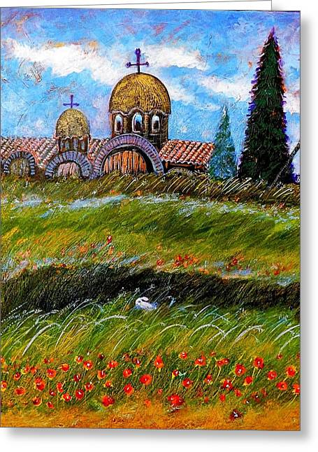 Monastery In Greece Greeting Card by Ion vincent DAnu