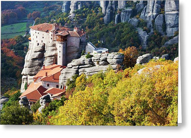Monastery On A Cliff  Meteora, Greece Greeting Card by Reynold Mainse