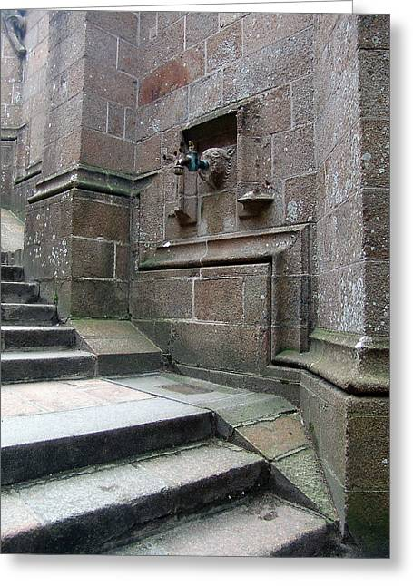Monastery Steps To Water Source Greeting Card