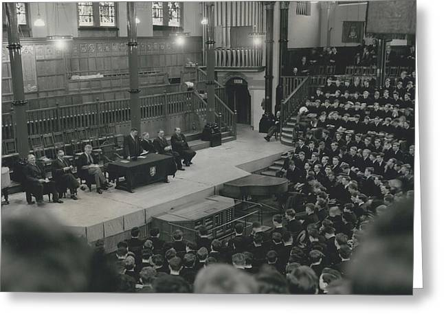 Monday Assembly In The Speech Room At Harrow School Greeting Card by Retro Images Archive