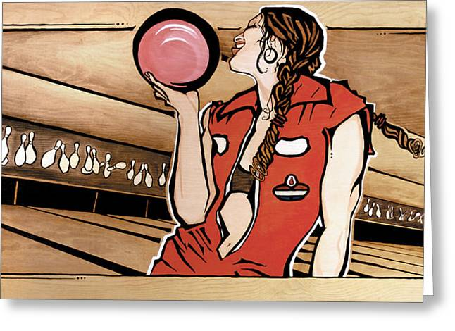 Monday Night Bowler Greeting Card by Janet Guenther