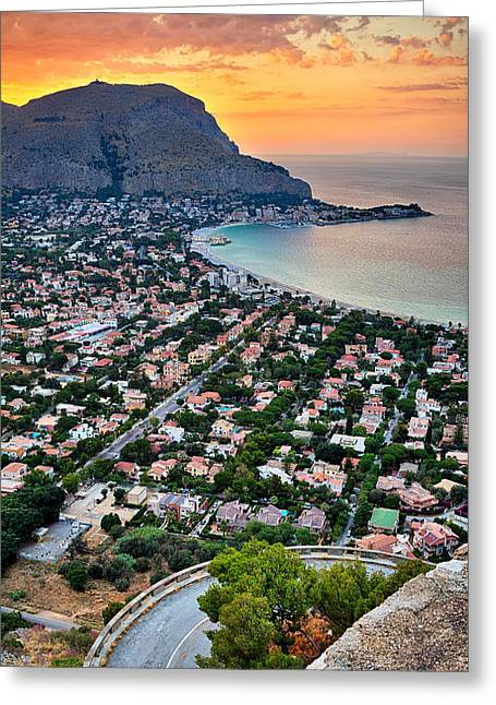 Mondello Beach Sunset Greeting Card by Viacheslav Savitskiy