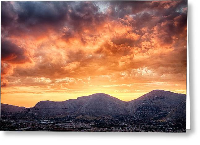 Mondello Sunset Greeting Card by Viacheslav Savitskiy