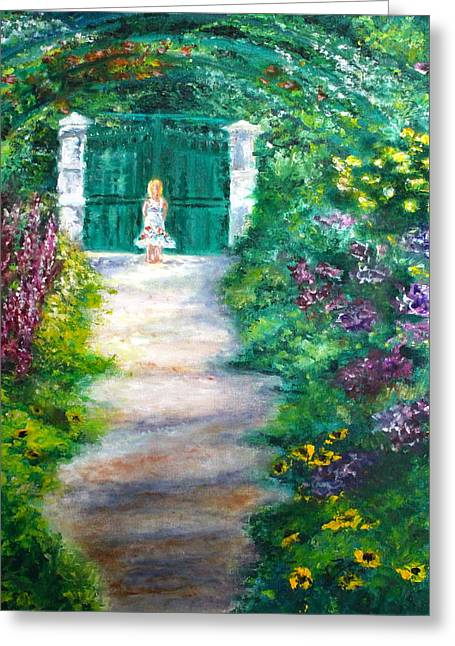Monet Garden Admirer Greeting Card