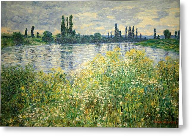 Monet's Banks Of The Seine At Vetheuil Greeting Card