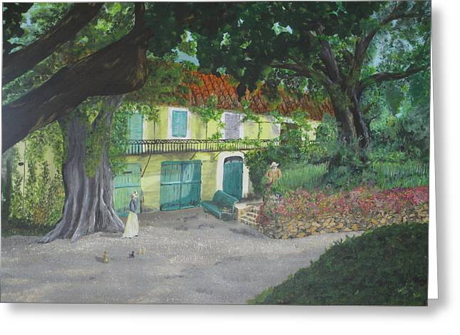Greeting Card featuring the painting Monet's Home by Hilda and Jose Garrancho