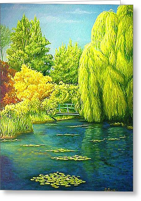 Monets Lily Pond In Green Greeting Card by Gary  Hernandez