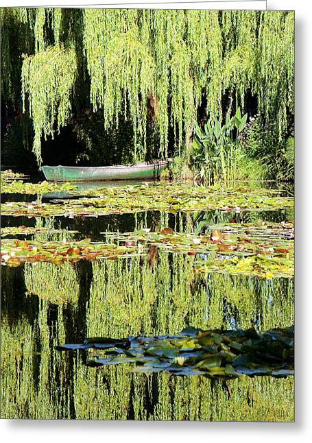 Monet's Pond Greeting Card by Lorella  Schoales