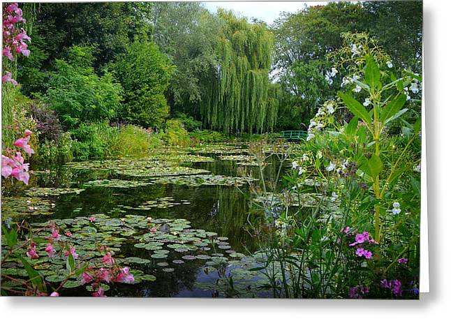 Monet's Pond With Waterlilies And Bridge Greeting Card by Carla Parris