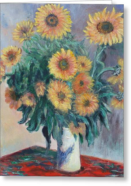 Greeting Card featuring the painting Monet's Sunflowers by Catherine Hamill