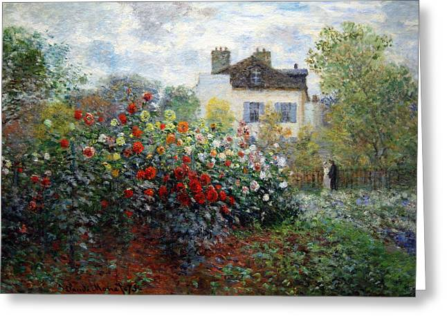 Greeting Card featuring the photograph Monet's The Artist's Garden In Argenteuil  -- A Corner Of The Garden With Dahlias by Cora Wandel