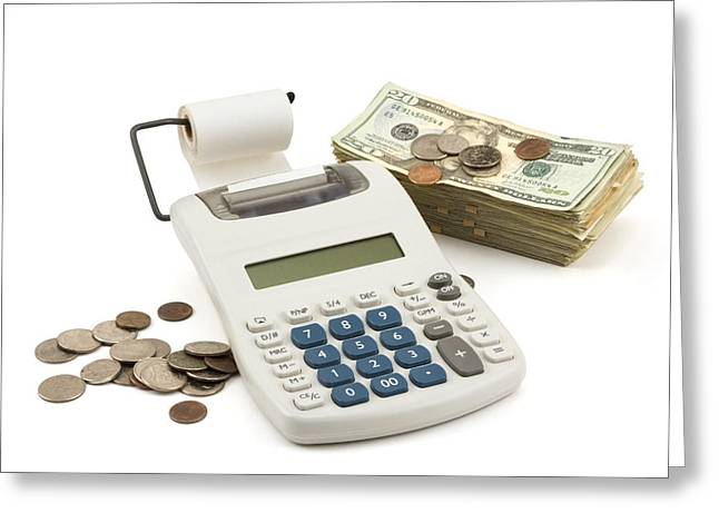 Money And Calculator On White Background Greeting Card